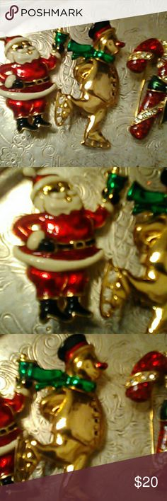 Vintage 1950's holiday pins Vintage 1950s holiday pins Santa Frosty and candy cane excellent condition very beautiful crafted . like new condition set of three Jewelry Brooches