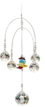 Double Rainbow móvil - Chakra - 5 Crystal Ball adjunta - Rainbow Maker - Colgante Cristal Suncatcher Ornamento - C312D
