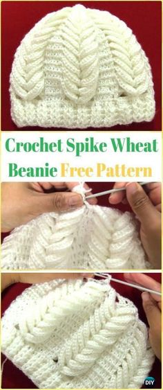Crochet Baby Hats Crochet Spike of Wheat Beanie Video - Crochet Beanie Hat Free Patterns - DIY Crochet Beanie Hat Free Patterns (Baby Hat Spring Hat Winter Hat), adjust the color and size for different ages and sex. Crochet Beanie Hat Free Pattern, Crochet Cap, Crochet Motifs, Crochet Baby Hats, Crochet For Kids, Diy Crochet, Crochet Patterns, Crochet Shoes, Crochet Dolls