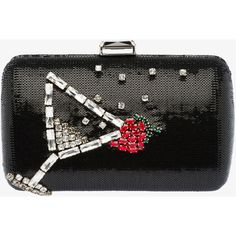 PRADA Clutch ($2,185) ❤ liked on Polyvore featuring bags, handbags, clutches, bolsas, bagsclutches, borse, black, women, accessories handbags and chain strap handbag