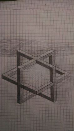 3D cube sketch on graph paper. Surprisingly hard to draw.