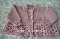 Baby Girls Cardigan, Baby Cardigan, Girls Sweater, Baby Girls Sweater, Style 15, Girl's Round Neck, Girls Lavender Cardigan, Size 0-3 months by BobtailsBoutique on Etsy