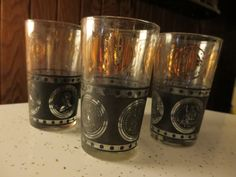 Retro Short Cocktail Bar Coin Glasses Set of 4 Black and Gold Shot US Liberty Financial Industry by NewOxfordVintage on Etsy