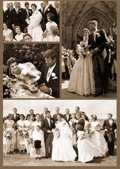.Photo collage of the wedding of Jacqueline Bouvier and John F. Kennedy.