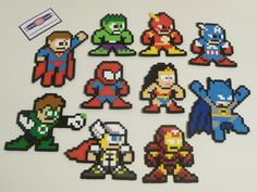 Super Hero Perler Bead Christmas Ornament - nintendo - dc comics - justice leauge. $6.00, via Etsy.