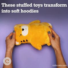 Cubcoats are stuffed animals that become hoodies. Just flip your Cubcoat around, zip open and roll out the hoodie. Kids Growing Up, Cool Inventions, Comfy Hoodies, Cool Gadgets, Creative Gifts, Future Baby, Kids And Parenting, Elmo Toys, Gifts For Kids