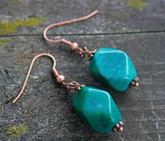 Green Aventurine and Copper Earrings- Emerald Green Aventurine Earrings-The Whimsical Offshoot