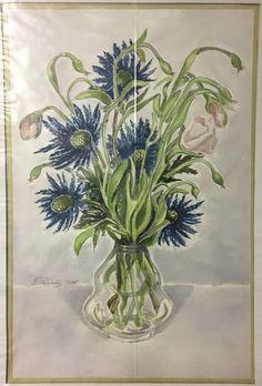 #27 Aquarelle 1985b 21'' x 14'' 80$ Paradis, Glass Vase, Plants, Home Decor, Watercolor Paintings, Flora, Interior Design, Home Interior Design, Plant