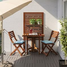 ÄPPLARÖ Gateleg table for wall, outdoor, brown stained - IKEA Small Balcony Decor, Small Balcony Design, Outdoor Balcony, Small Patio, Small Balcony Furniture, Small Balcony Garden, Small Outdoor Spaces, Garden Beds, Ikea Outdoor