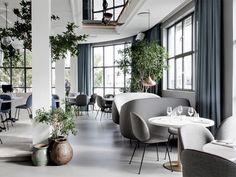 "Plant + Pot / ""Banquette"" Style Settee:  Standard restaurant in Copenhagen"