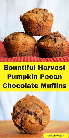 Delicious combination of pumpkin, pecans, chocolate and spices all rolled-up into one delicious muffin! GF option included in the recipe too! #blessedbeyondcrazy #pumpkin