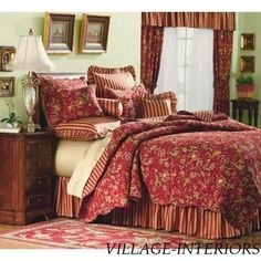 country red bedrooms | Sale French Country Red Gold Sage King Cotton ... | Bedrooms and rela ...