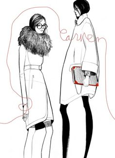 Bijou Karman - Fashion Illustrator Research I like how different this image  is compared to the others Bijou has done because there's no colour in this apart from a tiny amount and there's writing on this one too. Even without colour I still find this illustration really good and nice and it shows you don't need a large amount of detail or colour to produce something good.