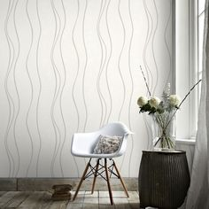 Elan White/Silver Wallpaper by Graham and Brown