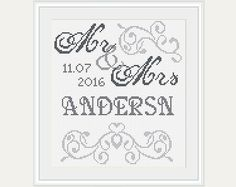 Mr & Mrs Cross Stitch - Wedding Cross Stitch Pattern - Scheme for Cross Stitch- Wedding Gift - Embroidery- PDF - INSTANT DOWNLOAD by PatternStitchShop on Etsy
