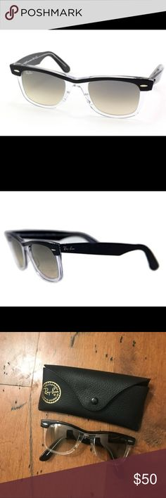 Ray Ban RB2143 New Wayfarer II in Black/Clear *in great condition! two-tone sunglasses in black/clear with gradient lens. original case included. made in Italy.  Ray Ban RB2143 Wayfarer II in Black/Clear with Crystal Grey Gradient Lens  About this item Features plastic Model name: Rb2143 Wayfarer II Plastic frame, Tempered Glass Grey gradient lenses Size (mm) Lens: 47 - Nose: 22 - Bars: 135 Rx-able: this product can fit prescription lenses in most cases Ray-Ban Accessories Sunglasses