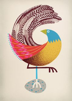 Screen print by Andrew Holder (Early Bird, from Pulled: A Catalog of Screen Printing - Graphic Design Bird Design, Design Art, Inspiration Art, Arte Popular, Bird Illustration, Painted Paper, Hand Painted, Grafik Design, Art Plastique