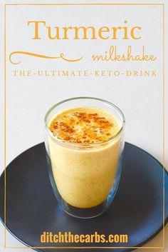 Smoothies Recipes Keto turmeric milkshake – the amazing fat burning drink from The Keto Diet Book…. Keto Foods, Ketogenic Recipes, Low Carb Recipes, Vegan Foods, Paleo Recipes, Snack Recipes, Dessert Recipes, Dinner Recipes, Keto Smoothie Recipes