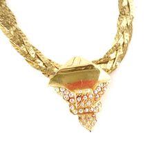 Unique 80s Gold chocker Necklace  elegant gold by PittiVintage