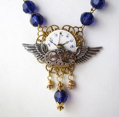 Sapphire Lucite Steampunk Necklace by rivkasmom, Grace Acosta, using some of her stash and some stuff from bsueboutiques.com