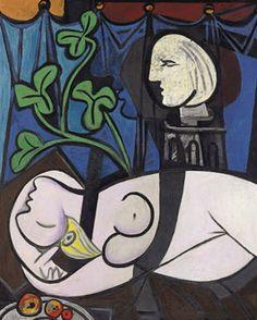 Desnudo, hojas verdes y busto de Picasso