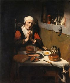 """"""" Old Woman Saying Grace """" 1656 By Dutch baroque artist Nicolaes Maes Oil on canvas At Rijksmuseum, Amsterdam Saying Grace, Wall Art Prints, Canvas Prints, Baroque Art, Dutch Golden Age, Art Uk, Old Master, Art Reproductions, Rembrandt"""