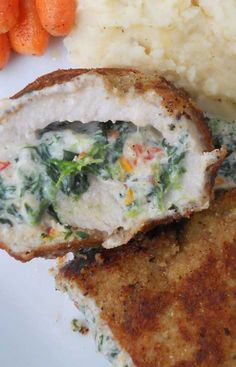 Recipe for Crispy Stuffed Pork Chops with Spinach and Sun-dried Tomatoes - Something warm and cozy for dinner with a healthy stuffing. Every once in a while you just want a good crispy bite of warm and cozy.