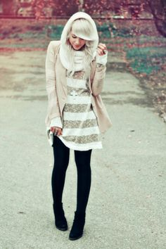 Striped dress sweater blazer black tights and booties