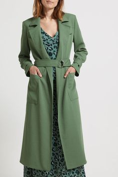 Green Trench Coat, Japanese Fabric, Off Colour, Line Design, Coats For Women, Duster Coat, Layers, Man Shop, Spring