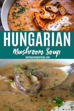 This Hungarian Mushroom Soup with Fresh Dill is rich, with hints of smokiness and a great umami flavor. It's the perfect bowl of soup to warm up with this season! Dill Recipes, Easy Soup Recipes, Veggie Recipes, Vegetarian Recipes, Cooking Recipes, Keto Recipes, Veggie Food, Bread Recipes, Cooking Tips