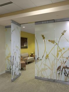 Guest Services: A New Approach Healthcare Design --- At Lakeland HealthCare's Marie Yeager Cancer Center in St., custom-designed panels coordinate with the overall design to create a private waiting area along the corridor. Dental Office Design, Office Interior Design, Healthcare Interior Design, Glass Partition Designs, Screen Design, Glass Design, Clinic Design, Door Glass Design, Hospital Interior Design