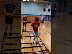 Two Foot Jump One Rung With Bouncing Ball. #PhysEd #PhysicalEducation @GopherSport #Ladder #Fitness Physical Education, Ladder, Things That Bounce, Physics, Fitness, Stairway, Physical Education Lessons, Physical Education Activities, Ladders