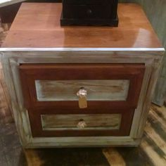 Distressed blue green and stained night stand. $44.99 #cherisheverymoment #homedecor #upcycling