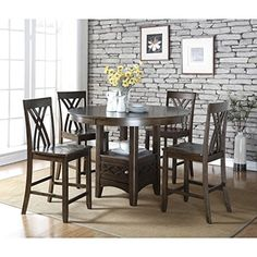 US Furnishings Express Annie Five 5-pieces Counter Height Solid Wood Dark Espresso Storage Dining set