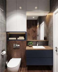 Bathroom furniture modern toilets 59 Ideas for 2019 Modern Bathroom Design, Bathroom Interior Design, Modern Interior Design, Bad Inspiration, Bathroom Inspiration, Pinterest Bathroom, Ideas Baños, Decor Ideas, Toilet Room