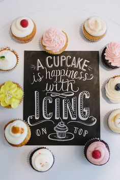Bakery Print  A Cupcake Is Happiness With Icing On by LilyandVal, $19.00
