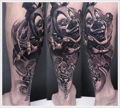 100+ Hilarious Clown Tattoos And Their Meanings awesome  Check more at https://tattoorevolution.com/clown-tattoos-meanings/