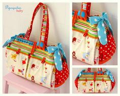 lovely bag, love the fabric, love color, love the bow, love the pom-poms trim