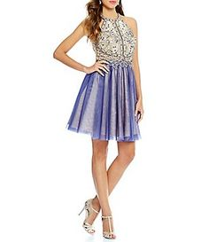 Glamour by Terani Couture Beaded Halter Bodice Fit-and-Flare Party Dress