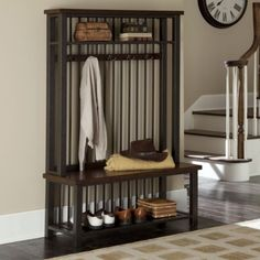 Wood and Metal Entryway Hall Tree Coat Rack Bench and Shelf ...