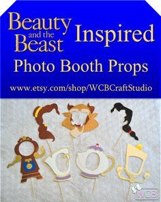 """Inspired by Disney classic """"Beauty and the Beast,"""" this photo booth prop set invites you to be our guest as you leave your provincial life behind to witness first-hand this tale as old as time! Beauty And The Beast Wedding Theme, Wedding Beauty, Dream Wedding, Beauty And The Beast Wedding Invitations, Disney Birthday, Disney Theme, 4th Birthday, Belle And Beast, Beauty And The Best"""