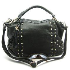 Florenza+Rhinestone+Studded+Bag+in+Black $64.75