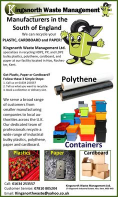 We Recycle Plastic, Paper, Cardboard!  CALL US TODAY!    Call: 01634 253557  Customer Service: 07810 805204  Email:Kingsnorthwaste@yahoo.co.uk  Kingsnorth Waste Management Ltd.17 Kingsnorth Industrial Estate, Hoo, Kent, ME3 9ND  #recycling  #PlasticRecycling