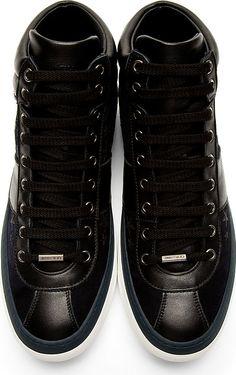 Jimmy Choo: Black & Navy Glitter Stars Belgravi High-Top Sneakers