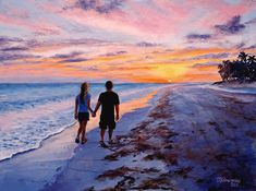Beach Painting - Into The Sunset by Mary Giacomini Beach Canvas Art, Diy Canvas Art, Beach Sunset Painting, Beach Paintings, Sunset Art, Silhouette Painting, Couple Silhouette, Love Painting, Couple Painting