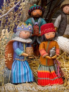 nativity project from Felt Wee Folk, 3 wise men Felt Christmas Ornaments, Christmas Crafts, Christmas Nativity, Christmas Printables, Christmas Sewing, Christmas Love, Jolly Holiday, Clothespin Dolls, Sewing Dolls