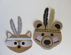 DIY: animaux déguisés en petits indiens: coiffes de plumes et peintures sacrées...