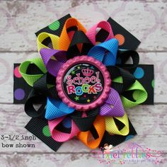 SCHOOL ROCKS Loopy Flower Bow {Your Choice Preschool - 6th Grade} {Available in 5 Sizes}