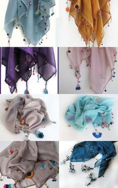 Scarves... by Mary on Etsy--Pinned with TreasuryPin.com Scarfs, Shawl, Tassels, Sewing, How To Make, Handmade, Etsy, Beautiful, Jewelry