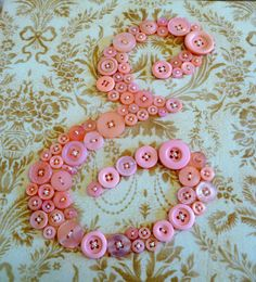 Baby Girl Nursery Button Letter Art, Children Wall Art, Pink Button Monogram on Canvas by Letter Perfect Designs